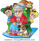 Vector Critter Clipart of a Pup and Cat with Grand Kids and Granny - Royalty Free by Visekart
