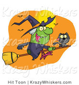 Vector Critter Clipart of a Wicked Halloween Witch and Her Black Cat Flying by Bats and a Full Moon on a Broom Stick by Hit Toon