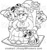 Vector Critter Clipart of an Outlined Granny with Her Pets and Grandchildren - Royalty Free by Visekart