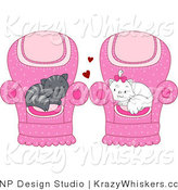 Vector Critter Clipart of Gray and White Cats Cuddled in Their Own Chairs - Royalty Free by BNP Design Studio