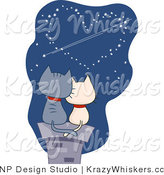 Vector Critter Clipart of Romantic Cats Gazing at Heart Stars - Royalty Free by BNP Design Studio