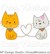 Vector Critter Clipart of White and Orange Cats with Heart Tails - Royalty Free by BNP Design Studio