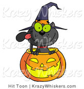 Vector Kitty Clipart of a Black Cat in a Halloween Jackolantern - Royalty Free by Hit Toon