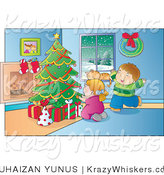 Vector Kitty Clipart of a Cat in a Window While Kids Sit by a Christmas Tree - Royalty Free by YUHAIZAN YUNUS
