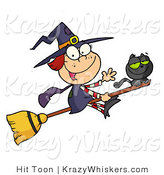 Vector Kitty Clipart of a Cute Witch and Black Cat on a Broomstick - Royalty Free by Hit Toon
