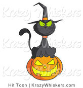 Vector Kitty Clipart of a Witch Cat on a Jackolantern - Royalty Free by Hit Toon