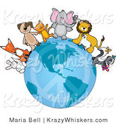 Vector Kitty Clipart of Animal Friends on a Peace Earth - Royalty Free by Maria Bell