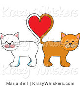 Vector Kitty Clipart of White and Orange Cats with Their Tails Forming a Heart - Royalty Free by Maria Bell
