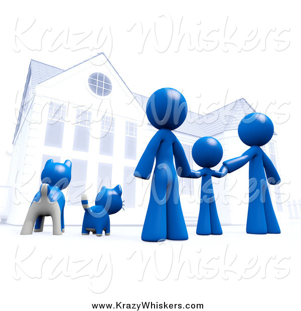 Critter Clipart of a 3d Blue Family and Pets in Front of Their Home