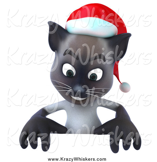 Critter Clipart of a 3d Christmas Siamese Cat Looking down at a Sign