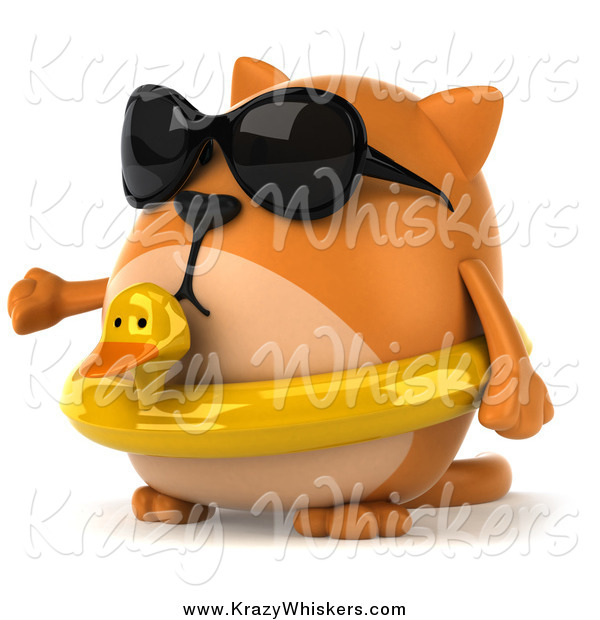 Critter Clipart of a 3d Chubby Orange Cat Wearing an Inner Tube and Shades and Presenting to the Left