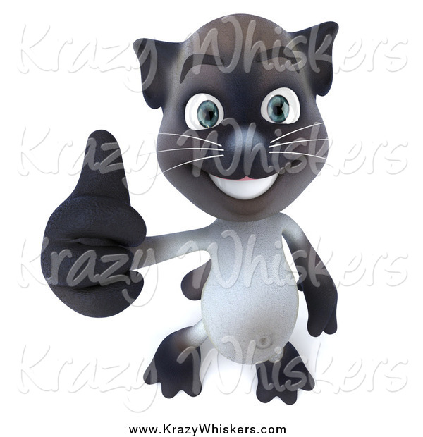 Critter Clipart of a 3d Siamese Cat Holding His Thumb up