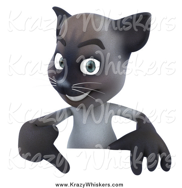 Critter Clipart of a 3d Siamese Cat Pointing down at a Sign