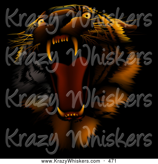 Critter Clipart of a Bad Tempered Tiger Roaring, on a Dark Background with Orange Lighting