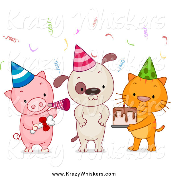 Critter Clipart of a Birthday Party Animals with Cake