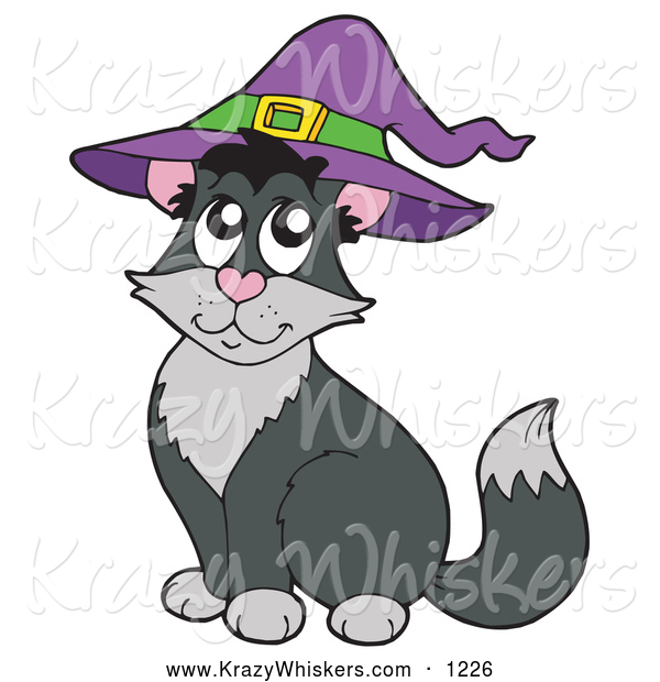 Critter Clipart of a Black and Gray Halloween Cat Wearing a Witch Hat