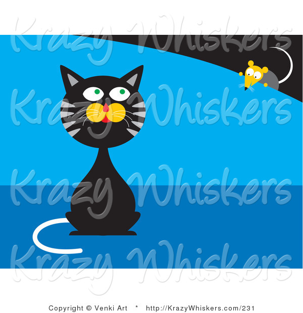 Critter Clipart of a Black and Gray Tabby Cat Sitting and Pretending He Doesn't Know a Mouse Is Behind Him While the Mouse Creeps Forward
