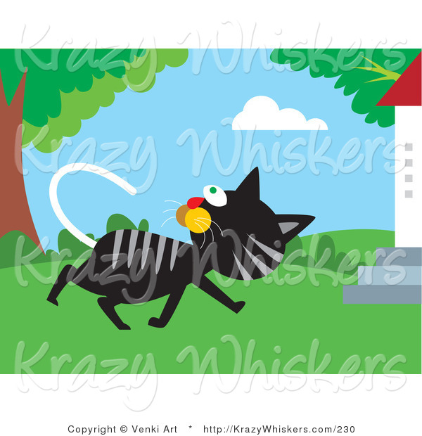 Critter Clipart of a Black and Gray Tabby Cat Walking past a Tree and Turning Its Head to Watch Birds in the Branches