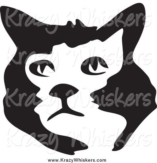 Critter Clipart of a Black and White Brush Stroke Styled Cat Face