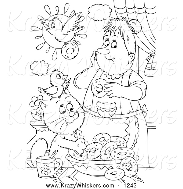Critter Clipart of a Black and White Cat and Bird Making Donuts with a Lady