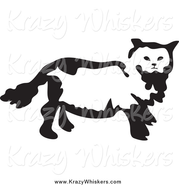 Critter Clipart of a Black and White Cat
