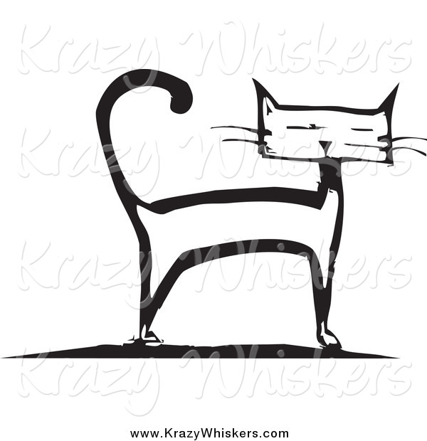 Critter Clipart of a Black and White Cat Standing