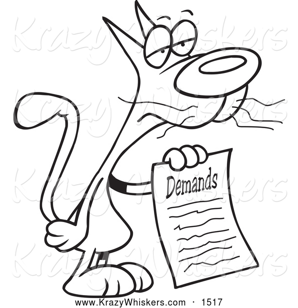 Critter Clipart of a Black and White Cat with a List of Demands