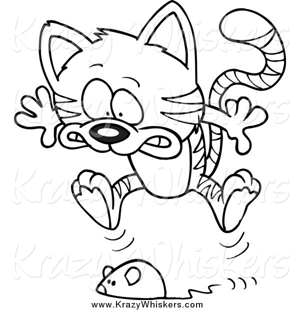 Critter Clipart of a Black and White Toy Mouse Frightening a Tabby Cat