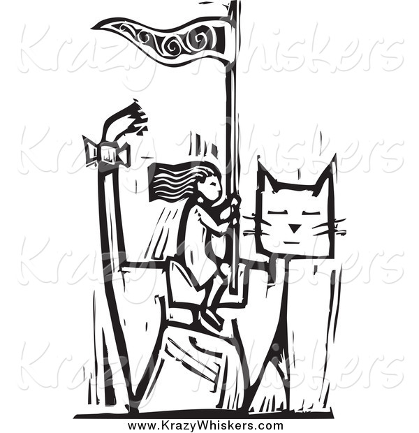 Critter Clipart of a Black and White Woodcut Girl Riding a Giant Cat