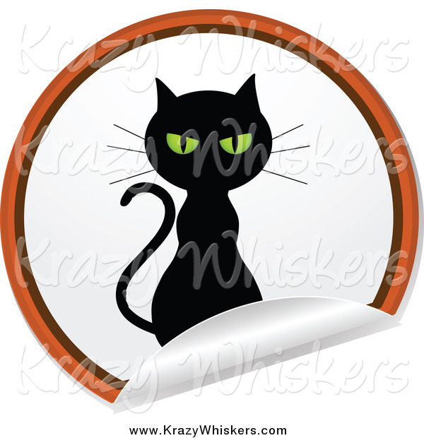 Critter Clipart of a Black Cat on a Round Peeling Sticker