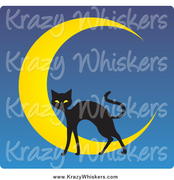 Critter Clipart of a Black Cat over a Crescent Moon on Blue