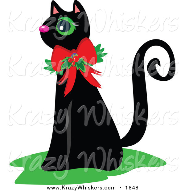 Critter Clipart of a Black Cat Wearing a Christmas Bow and Holly - Royalty FreeBlack Cat Wearing a Christmas Bow and Holly