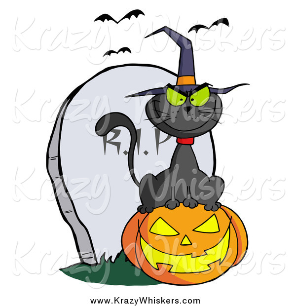 Critter Clipart of a Black Cat Wearing a Witch Hat and Sitting on a Pumpkin by a Tombstone and Bats
