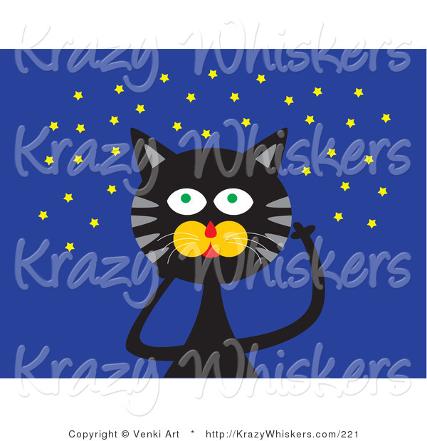 Critter Clipart of a Black Cat with Green Eyes and Gray Stripes, Looking up at a Starry Night Sky
