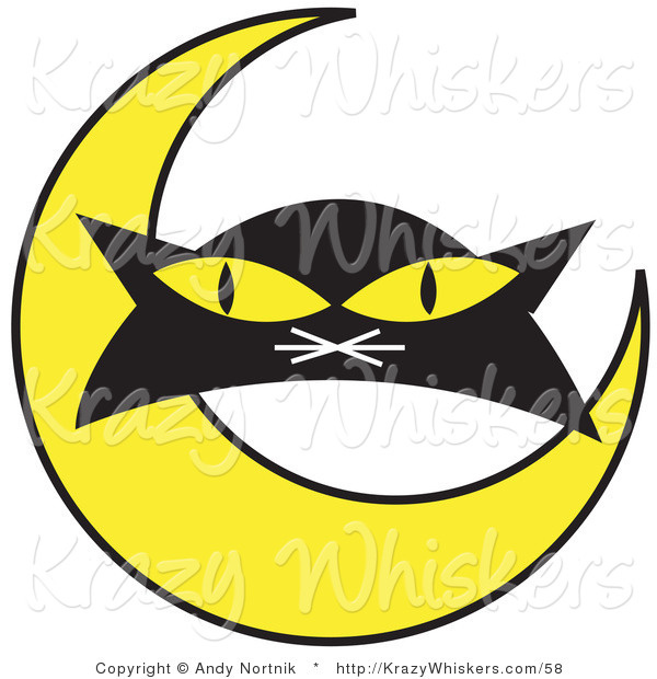 Critter Clipart of a Black Cat's Face with Yellow Eyes with with a Yellow Crescent Moon