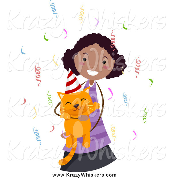 Critter Clipart of a Black Girl Holding Her Ginger Birthday Cat