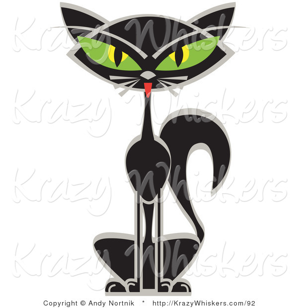 Critter Clipart of a Black Siamese Cat with Slanting, Big Green Eyes