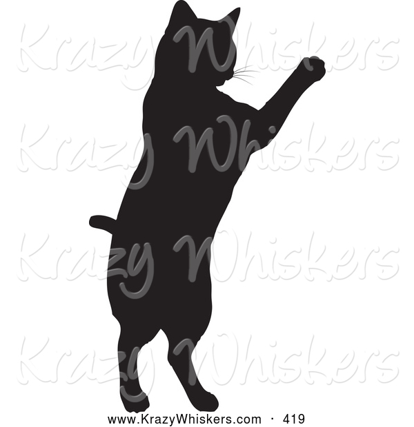 Critter Clipart of a Black Silhouetted Feline Jumping up on White
