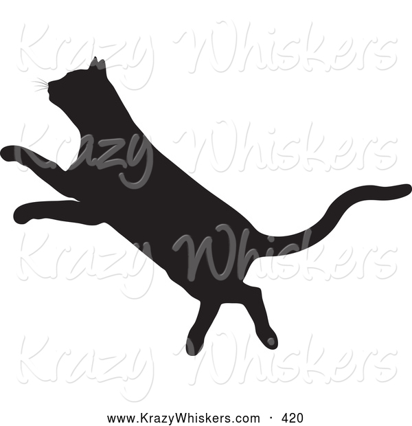 Critter Clipart of a Black Silhouetted Feline Leaping to the Left
