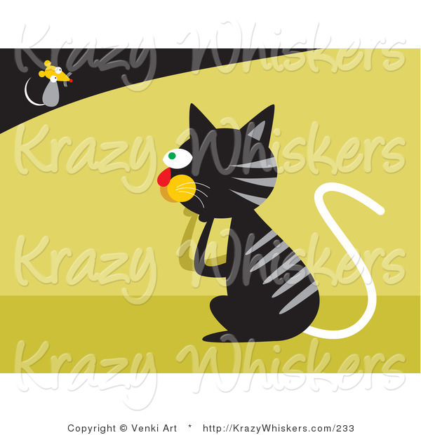 Critter Clipart of a Black Tabby Cat with Gray Stripes Pondering on How to Catch a Fast Little Mouse
