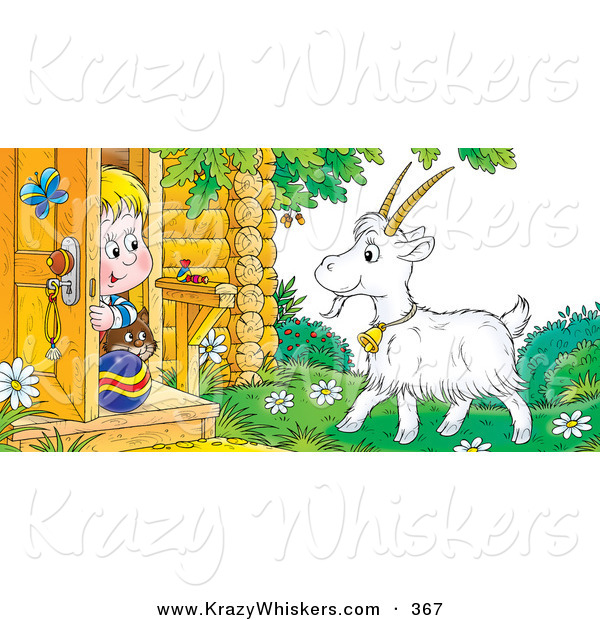 Critter Clipart of a Blond Boy and His Cat Peeking out a Front Door, Looking at a Goat