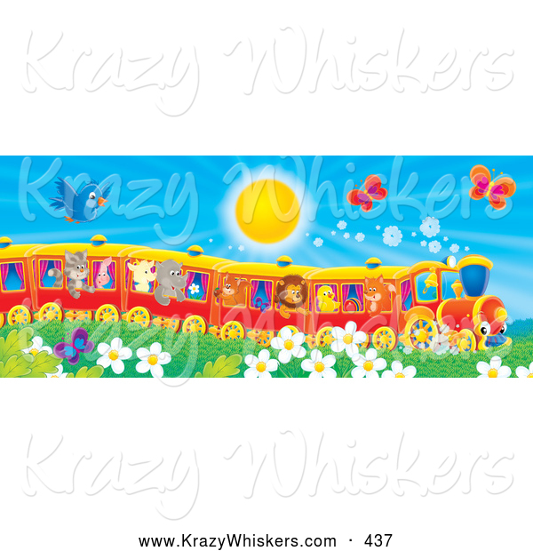 Critter Clipart of a Blue Bird and Butterflies Flying over Flowers near a Cat, Pig, Goat, Rhino, Squirrel, Lion, Chick and Fox on a Train on a Warm Sunny Day