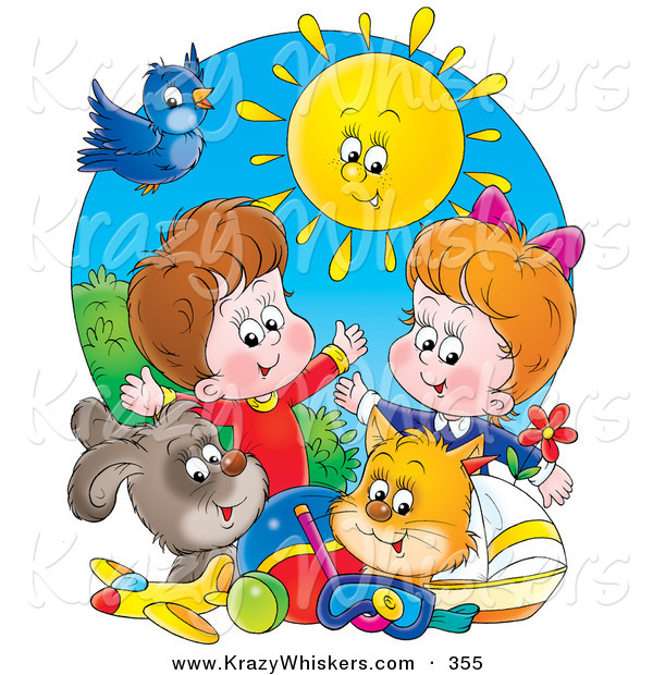 Critter Clipart of a Bright Summer Sun Shining down on a Bird, Dog, Cat, Toys and a Boy and Girl