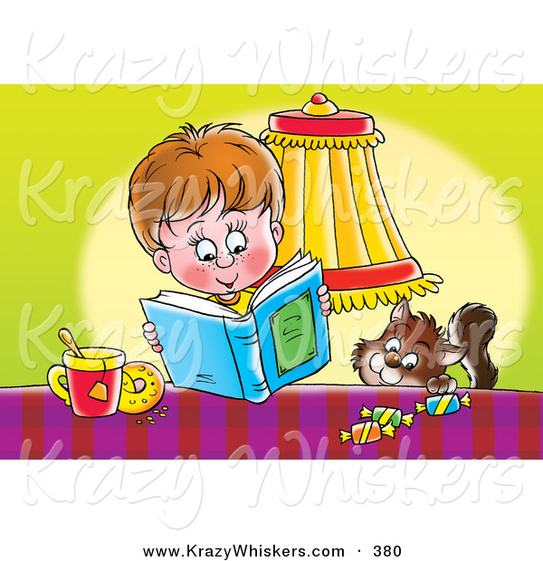 Critter Clipart of a Brown Cat Trying to Sneak Candy from a Table by a Boy Reading a Book