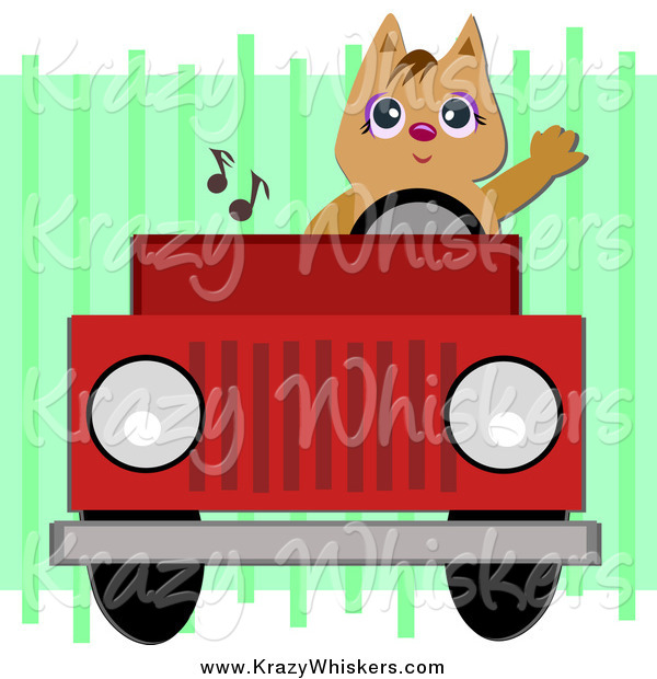 Critter Clipart of a Brown Cat Waving and Driving a Red Jeep
