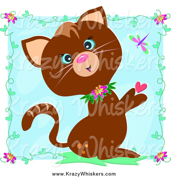 Critter Clipart of a Brown Cat with Hearts, Vines and a Dragonfly over a Blue Square