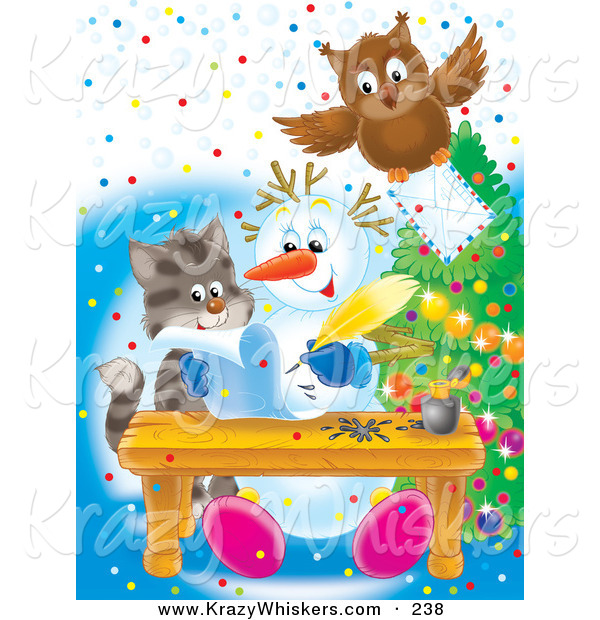 Critter Clipart of a Brown Owl Flying with an Envelope over a Kitten Watching a Snowman Writing a Letter