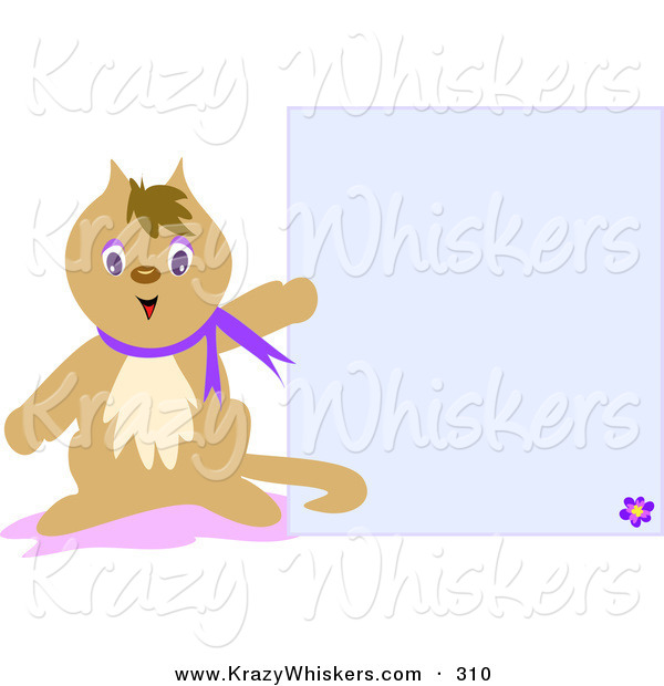 Critter Clipart of a Brown Pet Cat Wearing a Purple Collar, Pointing to a Blank Blue Stationery Background