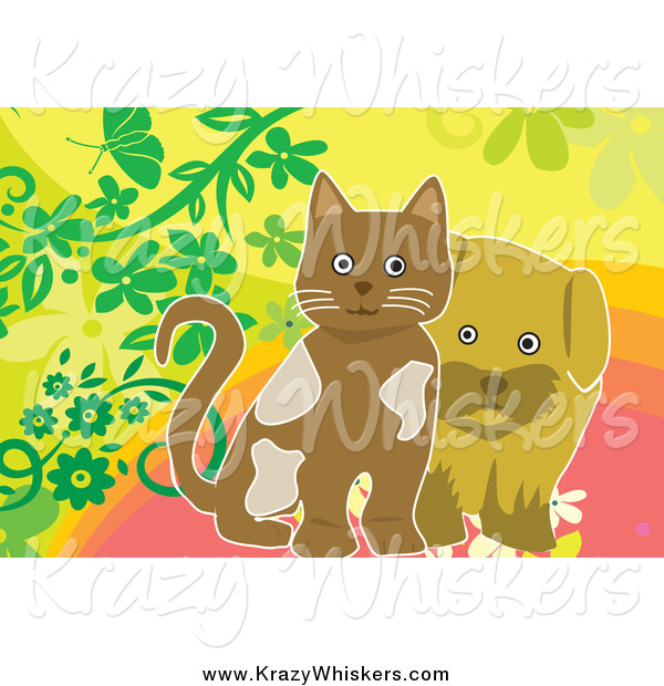 Critter Clipart of a Brown Puppy and Kitten with Flowers