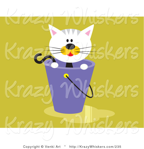 Critter Clipart of a Calico Kitten Inside a Bucket with Water Spilled on the Floor